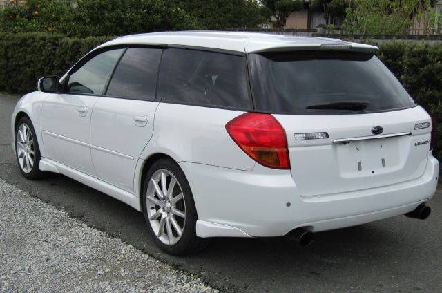 2004 Subaru Legacy 2.0 GT Spec Twin Scroll BP5 Turbo Auto Estate (S38), Front View, Passengers Side. Japanese imports for sale.