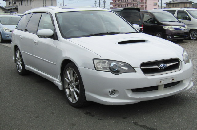 2004 Subaru Legacy 2.0 GT Spec Twin Scroll BP5 Turbo Auto Estate (S38), Front View, Drivers Side. Japanese imports.