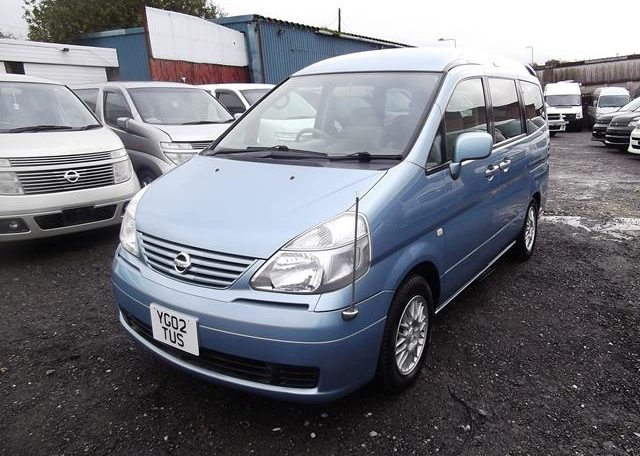 2002 Nissan Serena 2.0 Auto 7 Seater Mpv With Electric Disabled Chair And Rear Electric Ramp, Blue(A2), Front View, Passengers Side. Japanese imports for sale.