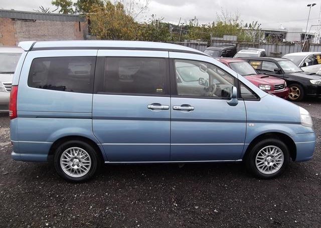 2002 Nissan Serena 2.0 Auto 7 Seater Mpv With Electric Disabled Chair And Rear Electric Ramp, Blue(A2), Side View, Drivers Side. Import Japanese cars uk.