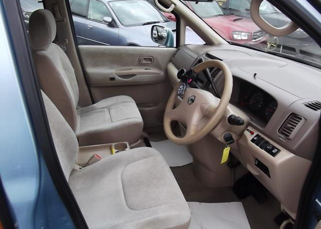 2002 Nissan Serena 2.0 Auto 7 Seater Mpv With Electric Disabled Chair And Rear Electric Ramp, Blue(A2), Interior View Dashboard & Steering Wheel. Japanese import cars UK.