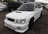 2002 Subaru Forester 2.0 Manual Stb Turbo 4WD Estate, White (S33), Front View, Passengers Side. Japanese imports for sale.