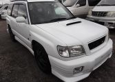 2002 Subaru Forester 2.0 Manual Stb Turbo 4WD Estate, White (S33), Front View, Drivers Side. Japanese imports.