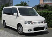 2004 Honda Stepwagon 2.0 Spada Rf5 Auto 8 Seater MPV, White (H72) , Front View, Drivers Side, Japanese imports.