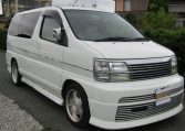 1999 Nissan Elgrand 3.3 V6 Auto Optional 4WD E50 Rider Autec 8 Seater MPV (E8), Front View, Drivers Side. Japanese imports.