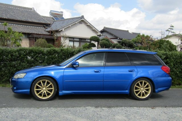 2004 Subaru Legacy 2.0 Gt Spec B Wr Ltd Twin Scroll Bp5 Turbo Auto Estate (S56), Side View, Passengers Side. Import Japanese cars uk.