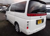 2003 Nissan Elgrand 3.5 E51 V6 Optional 4WD Auto 8 Seater MPV (P22), Rear View, Passengers Side. Japanese car imports UK.