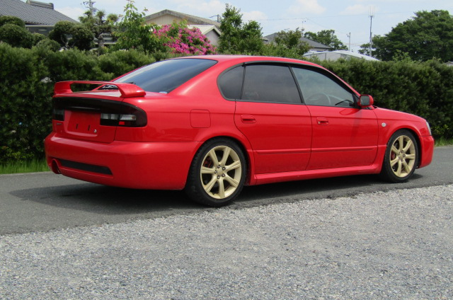 2003 Subaru Legacy 2.0 4wd Auto Blitzen Ltd Edn B4 Twin Turbo 4 Dr Saloon (S45), Rear View, Drivers Side. Jap imports UK.