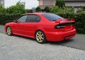 2003 Subaru Legacy 2.0 4wd Auto Blitzen Ltd Edn B4 Twin Turbo 4 Dr Saloon (S45), Rear View, Passengers Side. Japanese car imports UK.