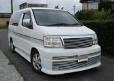 2001 Nissan Elgrand 3.5 E50 Rider Optional 4wd Auto 8 Seater MPV (E37), Front View, Drivers Side. Japanese imports.