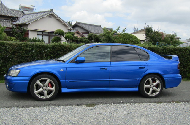 2003 Subaru Legacy 2.0 4wd Auto Ltd Edn B4 Rsk Edn Twin Turbo 4 Dr Saloon (S4), Side View, Passengers Side. Import Japanese cars uk.