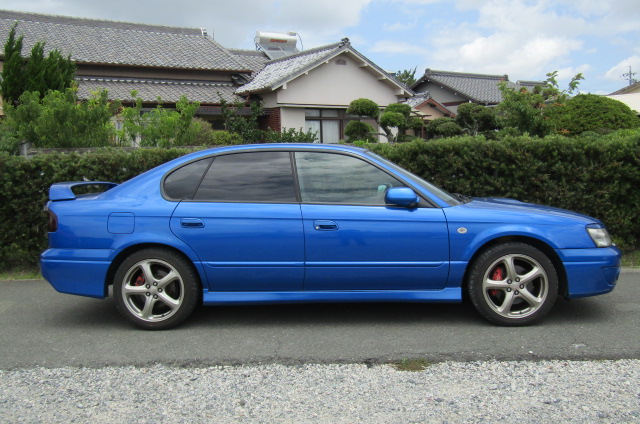 2003 Subaru Legacy 2.0 4wd Auto Ltd Edn B4 Rsk Edn Twin Turbo 4 Dr Saloon (S4), Side View, Drivers Side. Import Japanese cars uk.