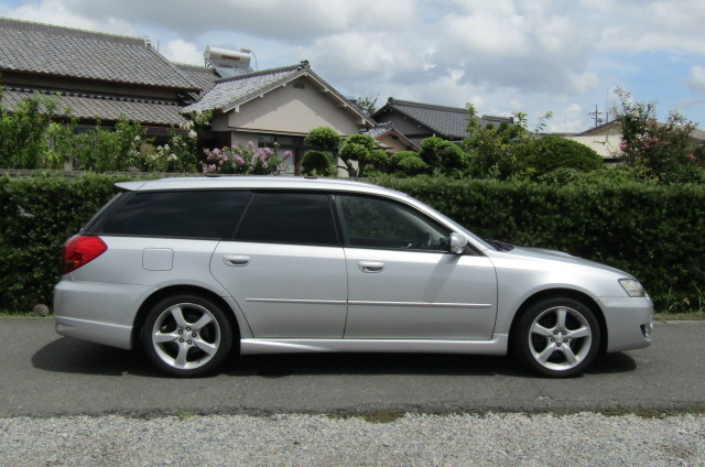2005 Subaru Legacy 2.0 Bp5 Gt Turbo 4WD Auto Estate (S77), Side View, Drivers Side. Import Japanese cars uk.