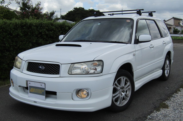 2004 Subaru Forester 2.0 4WD Cross Sports Turbo Sg5 Estate (S12), Front View, Passengers Side. Japanese imports for sale.