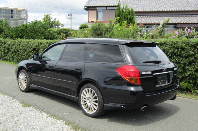 2005 Subaru Legacy 2.0 Bp5 Gt Turbo 4WD Auto Estate (S77), Rear View, Passengers Side. Japanese car imports UK.