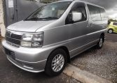 1998 Nissan Elgrand 3.3 E50 Optional 4WD Auto 8 Seater MPV (E87), Front View, Passengers Side. Japanese imports for sale.