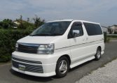 1999 Nissan Elgrand 3.3 Rider Optional 4wd Auto 8 Seater MPV (E67), Front View, Passengers Side. Japanese imports for sale.