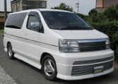 1999 Nissan Elgrand 3.3 Rider Optional 4wd Auto 8 Seater MPV (E67), Front View, Drivers Side. Japanese imports.